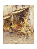 A Fruit Stall at the Base of the Campanile, San Giovanni Elemosinario, Near the rialto, Venice Prints by Helen		 Allingham