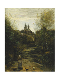 Semur, The Way to Church Prints by Jean-Baptiste-Camille Corot