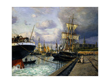 Shipping Vessels in Helsingor Harbour Poster by Thorolf Frederik Pedersen