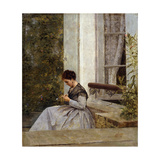 A Woman Crocheting Giclee Print by Giuseppe Nittis