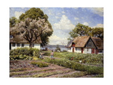 Children in a Farmyard Reproduction procédé giclée par Peder Mork Monsted