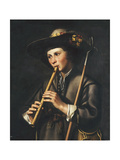 A Shepherd Playing the Pipes Poster by Johan		 Baeck