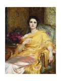 Portrait of Elsa, Daughter of William Hall, seated wearing a Pink Dress and Yellow Wrap Giclee Print by Frank Bernard Dicksee