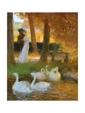 Lovers and Swans Giclée-Druck von Gaston Latouche