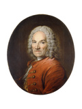 Portrait of Jean-Louis Lemoyne (1665-1715), in a Red Coat Giclee Print by Louis M.		 Tocque