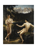 Male Nudes by a River in an Alpine Landscape Giclee Print by Hofer Gottfried