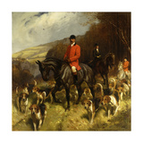 Mr and Mrs Lewis Priestman on Hunters with the Braes of Derwent Hunt in a Landscape Prints by John		 Charlton