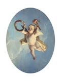A Putti in Flight Holding a Wreath and a Torch Prints by Francois Boucher
