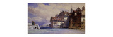 Old Houses on the Rhone at Geneva Premium Giclee Print by William		 Callow