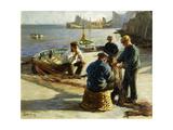 Mending the Nets, Newlyn Art by Harold Harvey