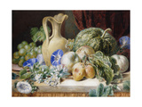 A Still Life with a Jug, Apples, Plums, Grapes and Flowers Giclee Print by Bartholomew Valentine