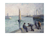 The Fishermen on the Dock Art by Maximilien Luce