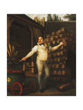 A Wheelmaker with a Fire Engine in a Yard Giclee Print by Alexandre-Francois Comte Girardin