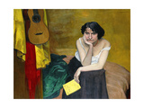 Woman and Guitar Print by Felix		 Vallotton