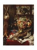 A Larder Still Life with Fruit, Game and a Cat by a Window Poster by Frans		 Snyders