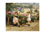 The Flower Market by the Seine Giclee Print by Victor Gabriel		 Gilbert