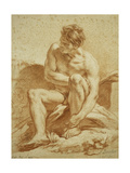 A Seated Nude with a Staff, a Relief with Putti to the Left Posters by Francois Boucher