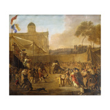 A Crowd watching Bear-baiting in a Town Square Giclee Print by Abraham Danielsz		 Hondius