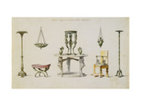 Differents Vases, Furniture, Altars and Tripods Discovered at Herculaneum Giclee Print by Paris Pierre-Adrien