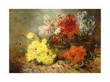 Daisies, Begonia, and Other Flowers in Pots Giclee Print by Eugene Henri		 Cauchois