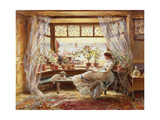 Læser ved vinduet, Hastings, England Giclée-tryk af Charles James Lewis