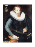 Portrait of a Gentleman, aged twenty-five, in a black doublet with turquoise and gold sleeves Giclee Print by Godfried		 Wedig