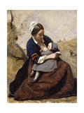 Breton Breastfeeding her Child Posters by Jean-Baptiste-Camille Corot
