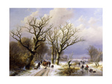 A Wooded Winter Landscape with Figures Giclee Print by E.J.		 Verboeckhoven