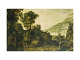 A Mountainous River Landscape with a Scene from the Life of William Tell Prints by Paul		 Bril