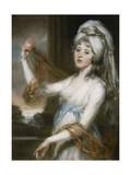 Portrait of Sarah, wife of Walker King, Bishop of Rochester, in a white dress with a blue sash Giclee Print by John		 Russell