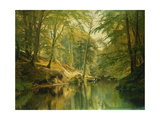 A Wooded River Landscape with Figures in a Boat Print by Christian		 Zacho
