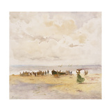 Fishermen on the Beach Giclee Print by Pompeo		 Mariani