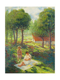Mother and Child in a Landscape Reproduction procédé giclée par Henri		 Lebasque