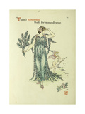 Flowers from Shakespeare's Garden: Rosemary Giclee Print by Walter		 Crane