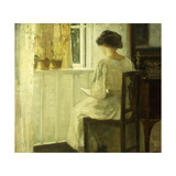 A Woman Reading in a Sunlit Interior Art by Carl		 Holsoe