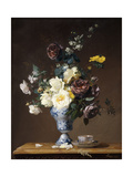 Roses and Other Flowers in a Blue and White Vase and a Teacup on a Ledge Posters by Francois		 Rivoire