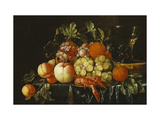 Peaches, Oranges, Grapes and Langoustines on a Pewter Plate Giclee Print by Cornelis Heem