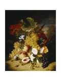 Peaches, Grapes, a Melon, Convulvuli and Other Flowers in a Landscape Giclee Print by Lesourd-Beauregard Ange-Louis-Guillaume