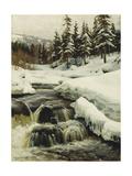 A Winter Landscape with a Mountain Torrent Reproduction procédé giclée par Peder Mork Monsted