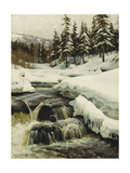 A Winter Landscape with a Mountain Torrent Giclee Print by Peder Mork Monsted