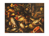 Game, Fish, Fruit and Vegetables in Baskets and Bowls in a Larder Giclee Print by Joachim		 Beuckelaer
