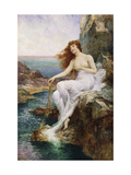 A Sea Nymph Seated on a Rock with a Ribbon of Seaweed Giclee Print by Alfred Augustus Glendening II