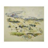 Mount Sainte Victoire looking towards Lauves Reproduction procédé giclée par Paul Cézanne