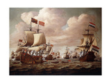 The English and Dutch Fleets exchanging Salutes at Sea Prints by Willem Velde I