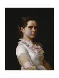 A Portrait of Margarete Rieckehoer, wearing a White Dress with Pink Bows Giclee Print by Joseph		 Kostka