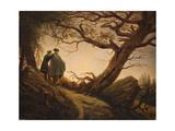 Two Men in the Consideration of the Moon Kunstdrucke von Caspar David Friedrich