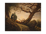 Two Men in the Consideration of the Moon Gicleetryck av Caspar David Friedrich