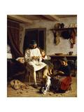 Family Chores Print by Friedrich Edouard Meyerheim