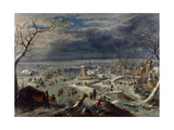 A Winter Landscape with Skaters on a Frozen Waterway by a Village Giclee Print
