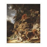 A Lion Driving a Pair of Leopards off a Dead Stag Giclee Print by Carl Borromaus Andreas		 Ruthart